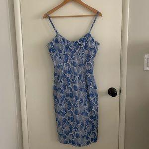 Anthropologie light blue detailed bodycon dress